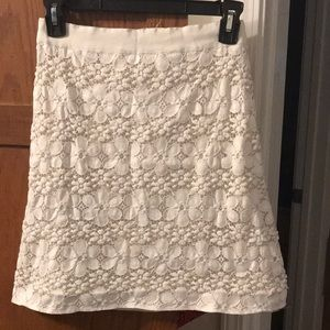 00P Loft  silk lined cream skirt with lace overlay